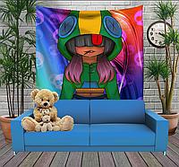 Панно тапестри(гобелен) с 3D с принтом Бравл Старс Девушка Леона Brawl Stars