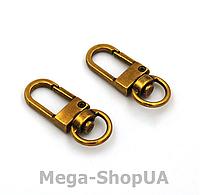 Застежка карабин металлический. Застежка-карабин для ключей. Брелок для ключей 1 штука Golden Brass, фото 1