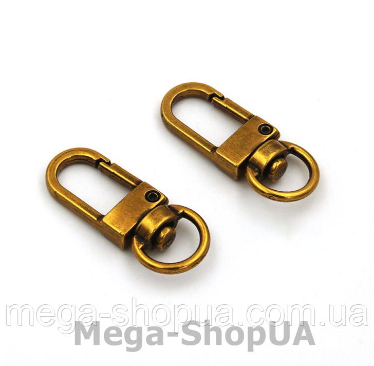 Застежка карабин металлический. Застежка-карабин для ключей. Брелок для ключей 1 штука Golden Brass