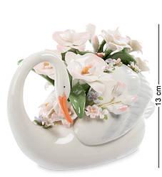 Статуэтка фарфоровая Pavone Лебедь с цветами 13 см 1106043
