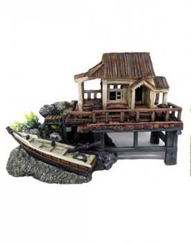 Декор в аквариум Рыбацкая хижина и лодка 38*20*24,5 см (керамика) Croci Amtra