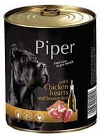 Dolina Noteci Piper 800гр консерва для собак с куриными сердцами и коричневым рисом