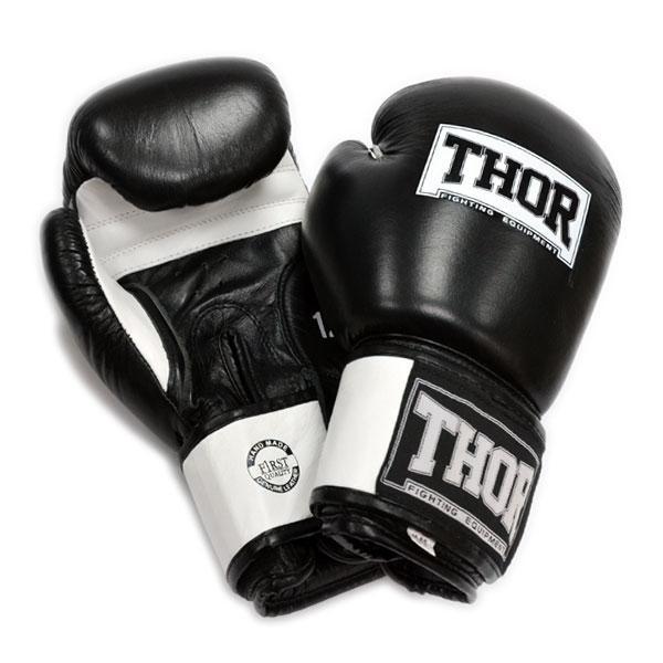 Перчатки боксерские THOR SPARRING 16oz /Кожа /черно-белые