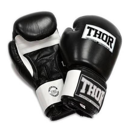 Перчатки боксерские THOR SPARRING 16oz /Кожа /черно-белые, фото 2
