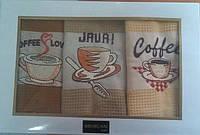 Набор вафельных кухонных полотенец с вышевкой Mercam 3 шт 50х70 см, фото 1