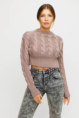 Бежевий укорочений светр з косами
