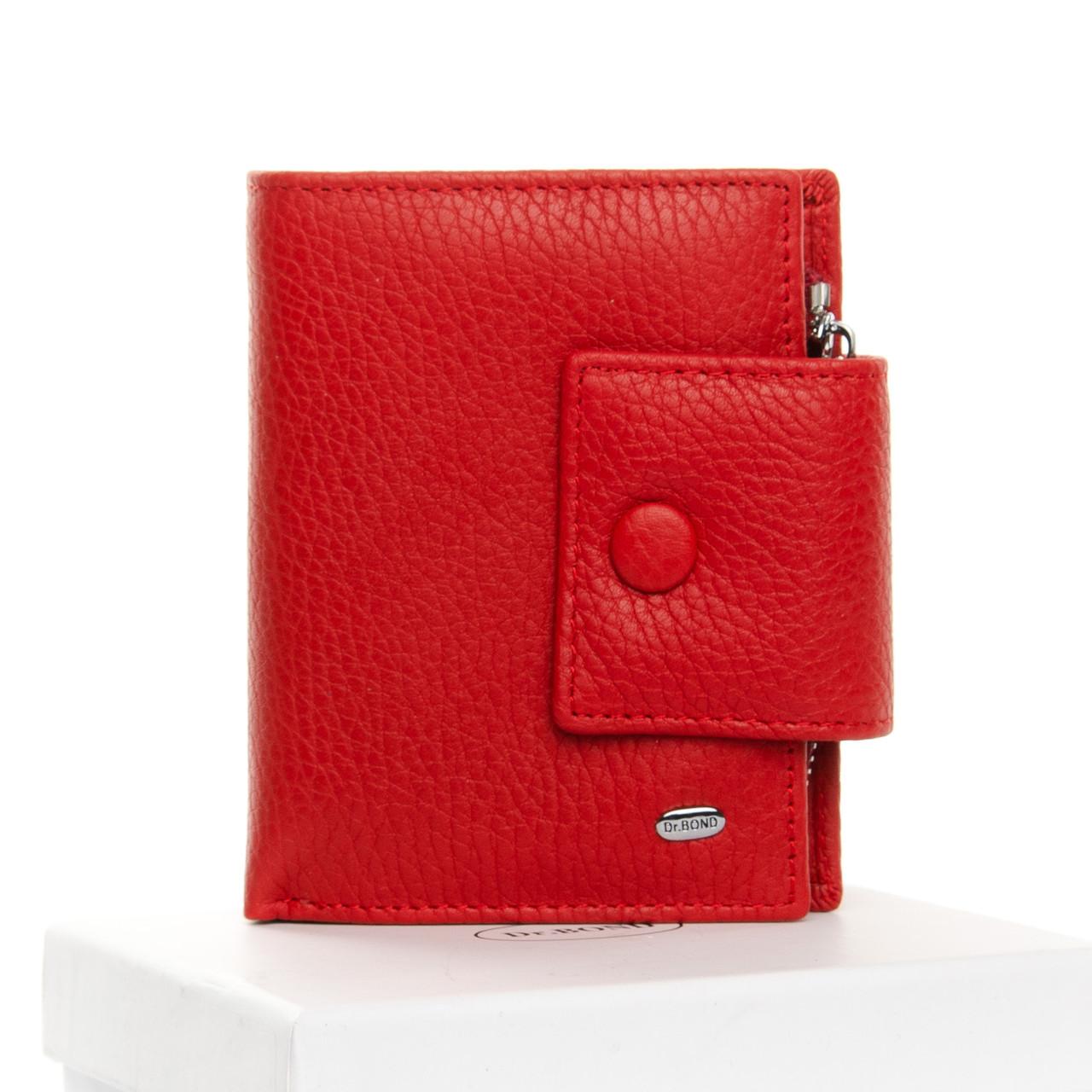 Гаманець жіночий шкіряний червоний на кнопці маленький Dr. Bond WS-5