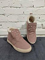 Женские ботинки утепленные стильные Пудра   Размер 37 38 39  