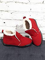 Женские ботинки утепленные стильные Красные   Размер 36-40  