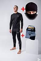 """Мужской черный термокомплект + термо носки + балаклава """"Columbia"""""""