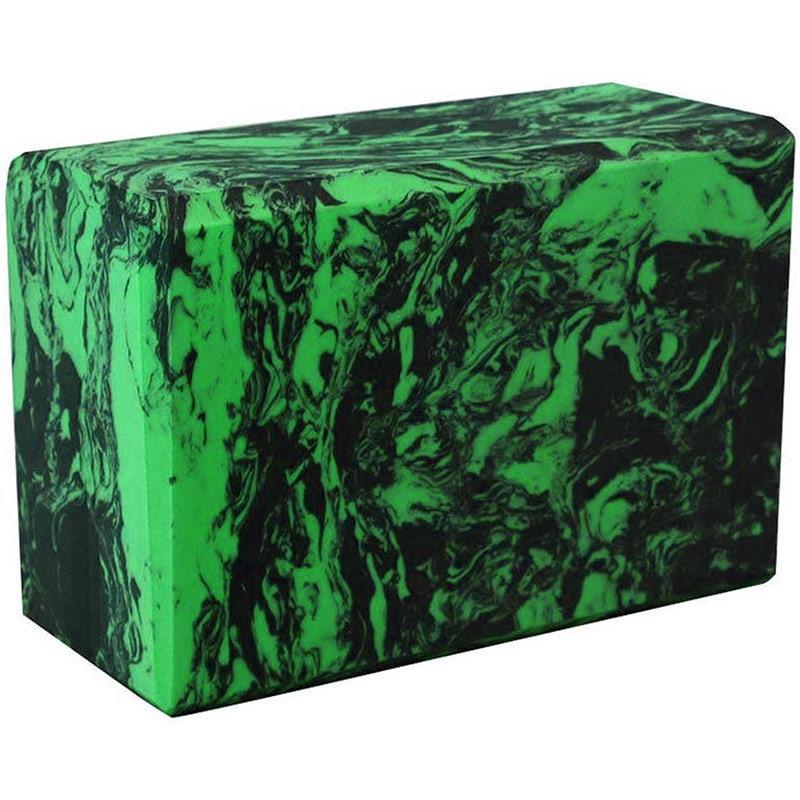Блок для йоги C332 Зелёный с узором