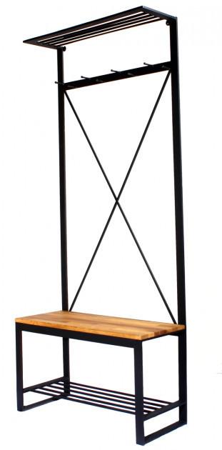 Вешалка в прихожую GoodsMetall из металла и дерева в стиле Лофт 1900х800х350мм Мюррей