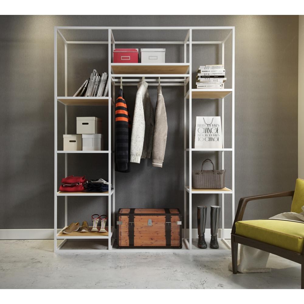 Открытый шкаф для одежды GoodsMetall в стиле Лофт 2000х1600х500мм ВШ75