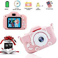 Детский цифровой фотоаппарат Smart Kids Kitty Камера с играми Кошечка Розовый карта памяти