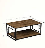 Журнальный, кофейный столик GoodsMetall в стиле Лофт 1200х600х500 ЖС157, фото 4