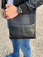 Кожаная мужская классическая сумка через плечо, мессенджер, планшетка