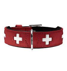 Ошейник Hunter кожаный «Swiss» 38-43,5 см / 30 мм (красный)