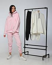 Спортивный костюм женский модный худи и штаны на резинке розовый S