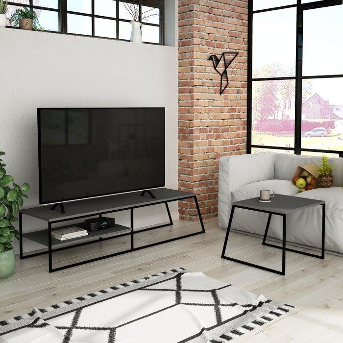Тумба под телевизор + кофейный столик GoodsMetall в стиле Лофт 1500х380х450 Т124