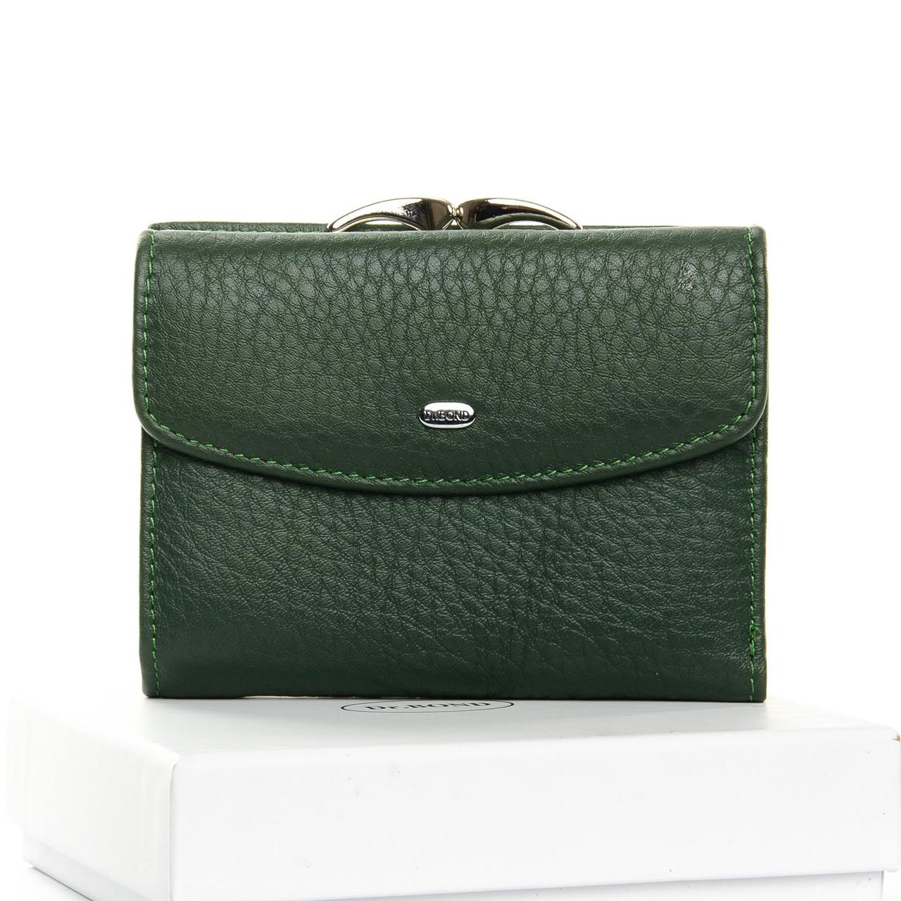 Шкіряний жіночий гаманець зелений на кнопці Dr. Bond WS-11