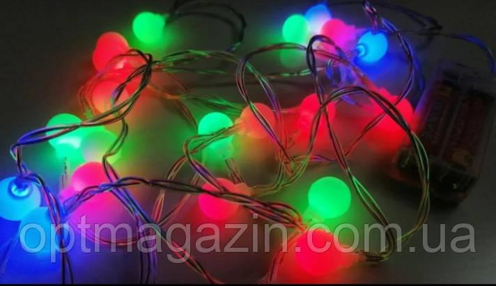 Гирлянда Шарик матовый на батарейке 10 ламп, фото 2