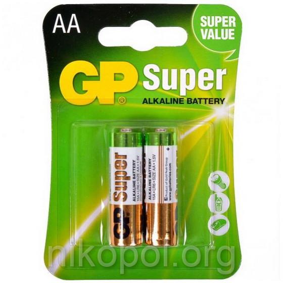 Батарейки GP 15A-U2 LR6 Super, розмір АА (пальчикова), в блістері (пара)