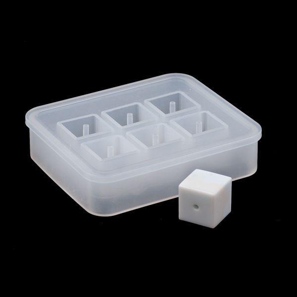 Молд силиконовый для бусин на 6 форм, Куб, 16 мм