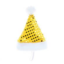 Шапка новорічна для собак Zizi золотиста 14х20 см