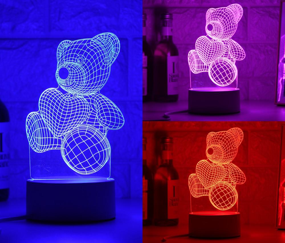 3D светильник Мишка с сердцем (3 D ночник, 3 D лампа)