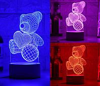 3D светильник Мишка с сердцем (3 D ночник, 3 D лампа), фото 1