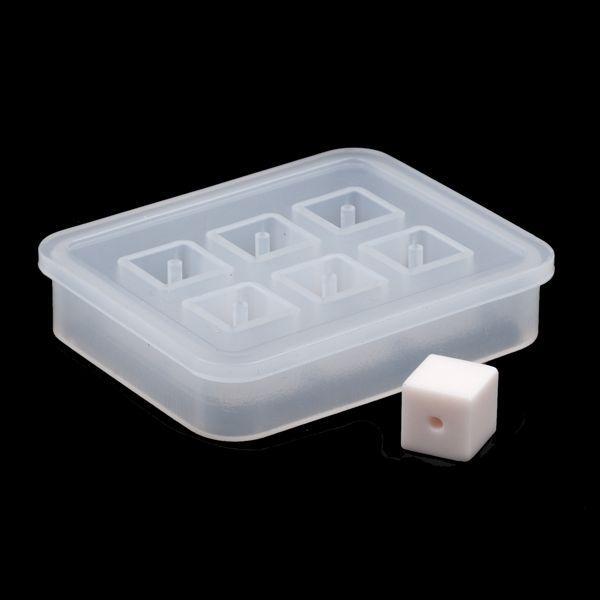 Молд силіконовий для намистин на 6 форм, Куб, 12 мм