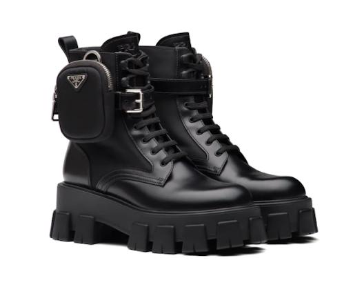 Prada Leather Boots Nylon Pouch (37(23.5см))