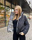 Зимова двостороння світловідбиваюча коротка куртка з буквами (р. 42-48) 84kr517, фото 4