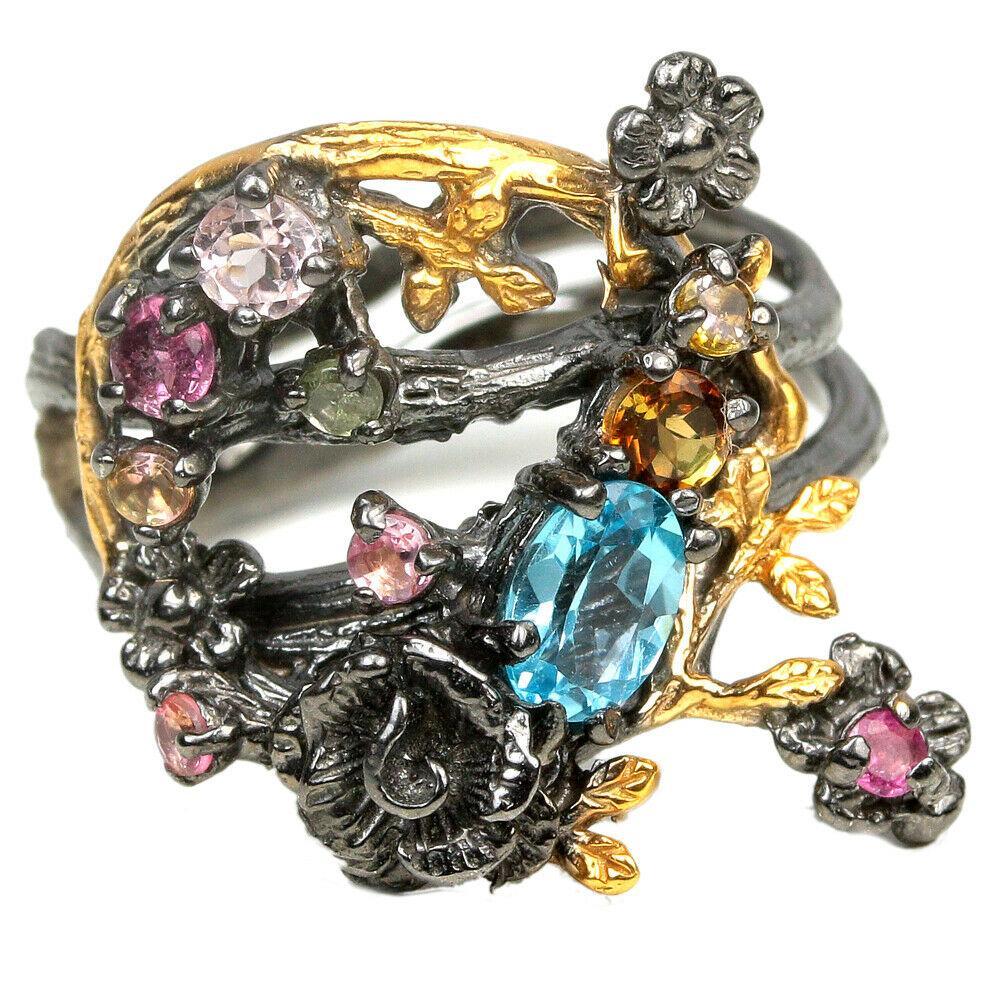 Серебряное кольцо с топазом Швейцарским, 1567КТ