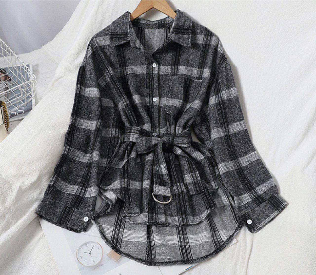 Женская теплая рубашка в клетку с поясом удлиненного фасона (р. 42-46) 68rz425