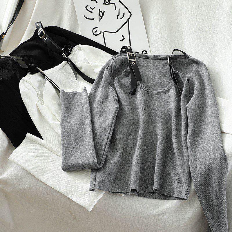 Кофта женская с открытыми плечами и кожаными ремешками на плечах (р. 42-44) 68dm1015