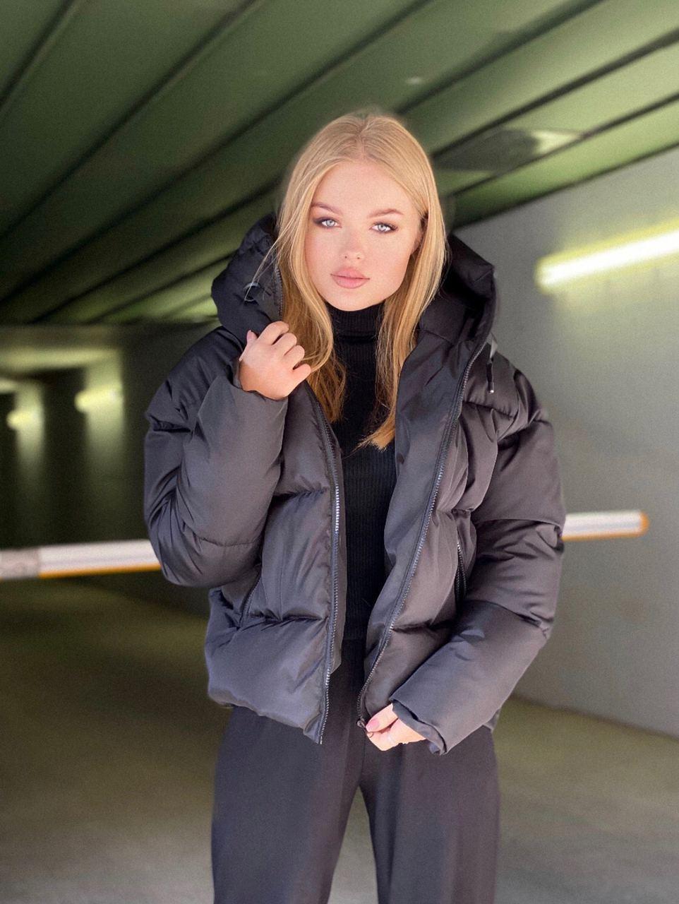 Женская удлиненная зимняя куртка на молнии с объемным капюшоном (р. 42-46) 84ki512