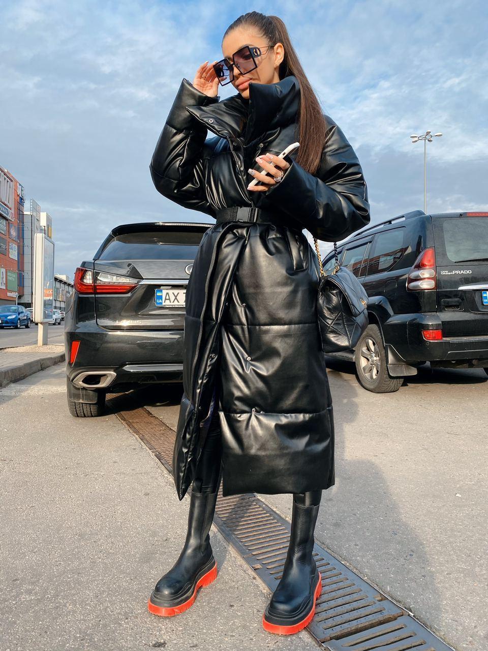 Зимнее кожаное женское Пальто на кнопках и с поясом, большой воротник стойка (р. 42 - 46) 71lt155