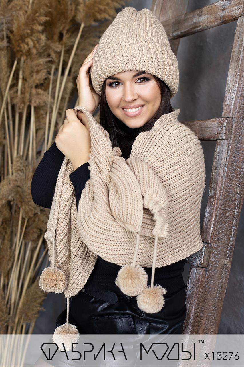 Женский вязаный комплект : шапка с подворотом и шарф с бубонами в расцветках 1sl286