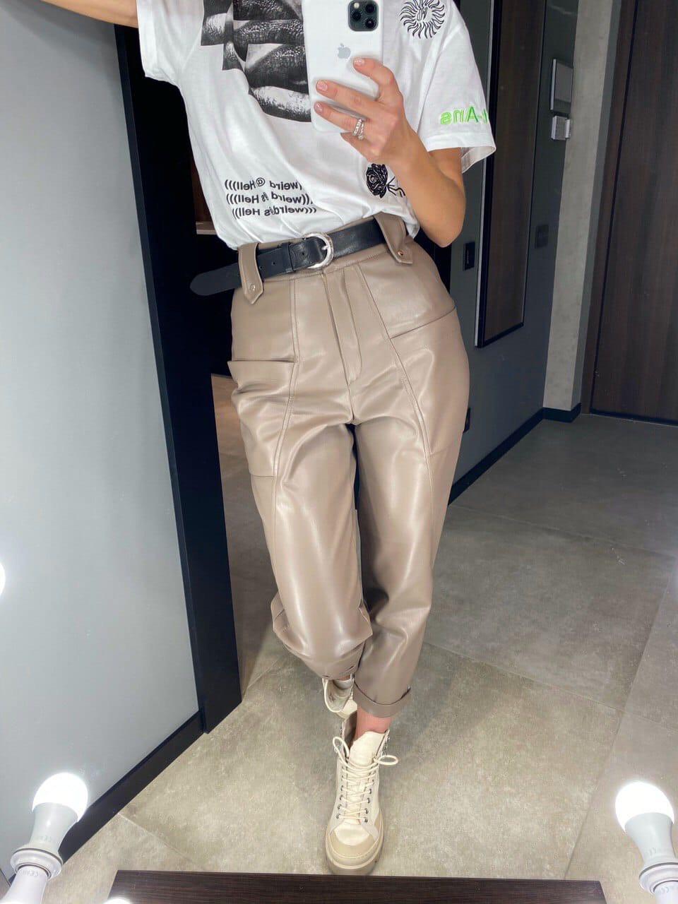 Кожаные брюки женские на средней посадке с подворотами (р.S, M, L) 83lr545
