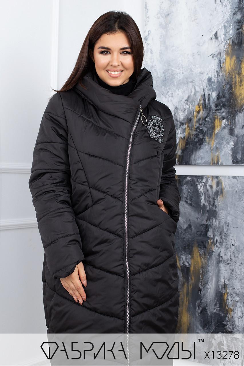 Черное стеганое Пальто в больших размерах свободного кроя на молнии с капюшоном 1uk821