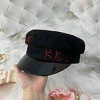 Женский картуз, кепи, фуражка с лаковым козырьком RB черный, фото 1