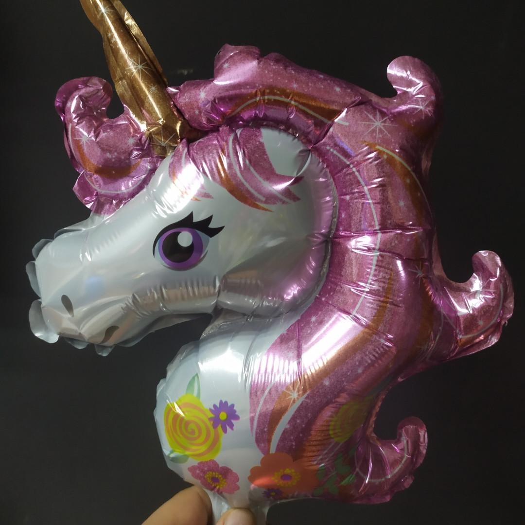 Фольгована кулька міні-фігура єдиноріг голова 36х29см рожевий Китай