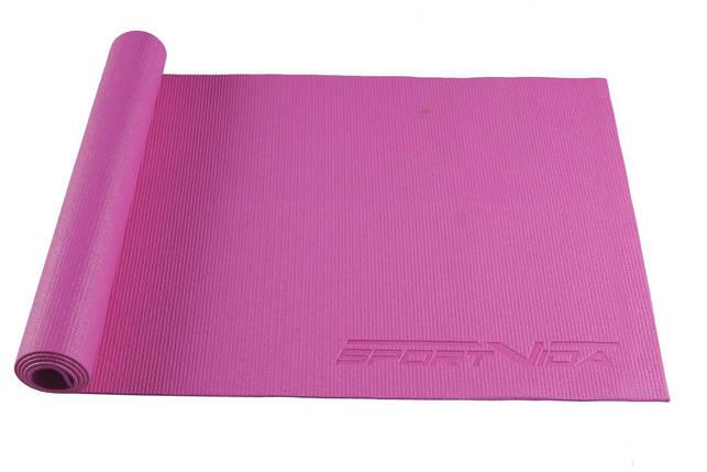 Коврик (мат) для йоги и фитнеса SportVida PVC 4 мм SV-HK0049 Pink, фото 2