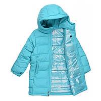 Зимняя куртка Columbia 6-9лет удлиненная детская подростковая для девочки голубая 1863691-336