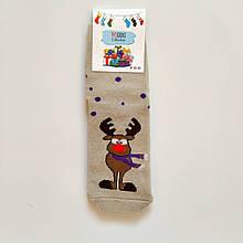 Махровые зимние теплые женские носки с оленем размер 36-41 бежевые 2