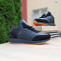 Мужские зимние кроссовки в стиле Adidas INIKI черные с оранжевым