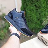 Чоловічі зимові кросівки в стилі Adidas INIKI чорні з помаранчевим, фото 2