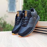 Чоловічі зимові кросівки в стилі Adidas INIKI чорні з помаранчевим, фото 3