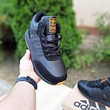 Чоловічі зимові кросівки в стилі Adidas INIKI чорні з помаранчевим, фото 7